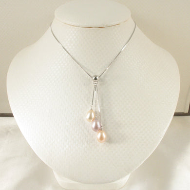9600202-Solid-Sterling-Silver-Triple-Dangle-Genuine-Pink-Pearls-Necklace