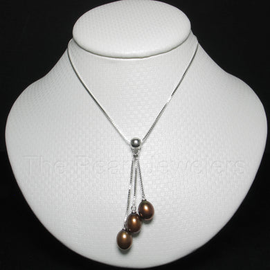 9600203-Solid-Sterling-Silver-Triple-Dangle-Chocolate-Pearls-Necklace