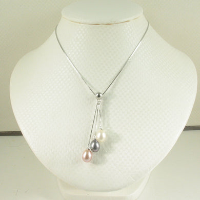 9600204-Silver-.925-Triple-Dangle-White-Black-Pink-Pearls-Necklace