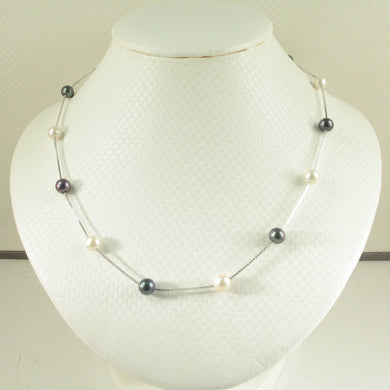 9601095-Hand-Crafted-Tin-Cup-Necklace Black-White-Cultured-Pearl