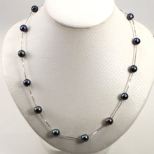 Load image into Gallery viewer, 9602091-Sterling-Silver-Handcrafted-Black-Cultured-Pearls-Tin-Cup-Necklace