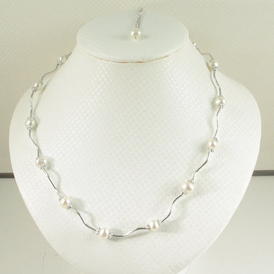 9609970-Solid-Sterling-Silver-Genuine-White-F/W-Culture-Pearls-Necklace