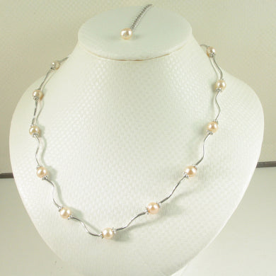 9609972-Solid-Sterling-Silver-Genuine-Pink-F/W-Culture-Pearls-Necklace
