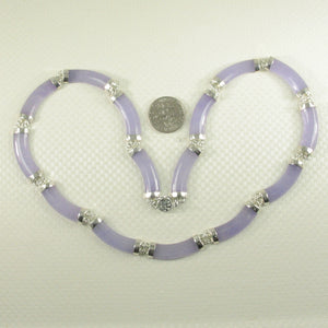 9610062-Sterling-Silver-15-Segments-7x25mm-Lavender-Jade-Necklace