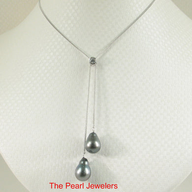 96T0022-Beauty-Necklace-Crafted-Silver-.925-Cubic-Zirconia-Twin-Tahitian-Pearl