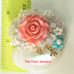 Fine Handcrafted Amazing Gemstone Flower Design High Quality Brooch Pendant