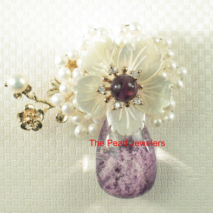 Handcrafted Amazing Gemstone Flower Design High Quality Brooch Pendant