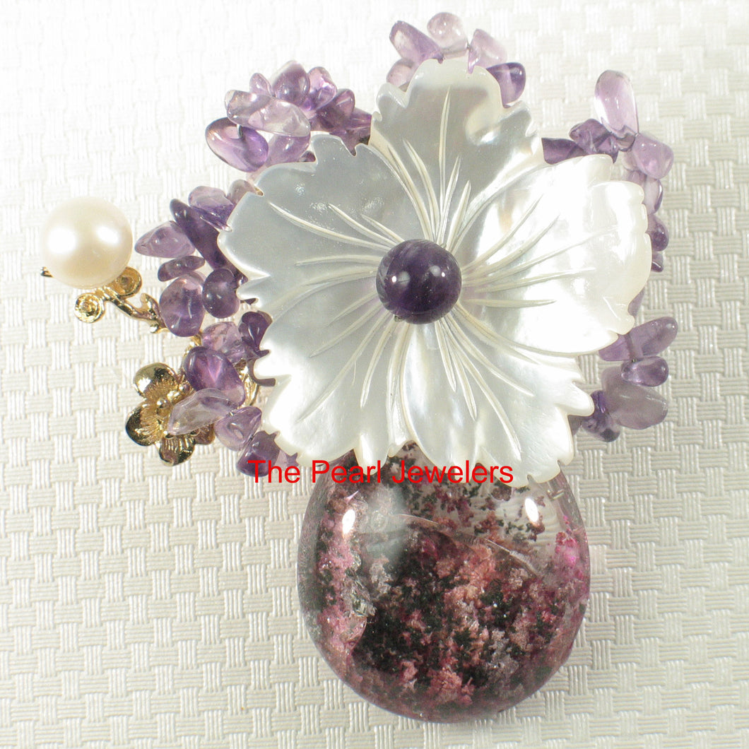 Handcrafted Elegant & Beautiful Gemstone Flower Design Brooch Pendant