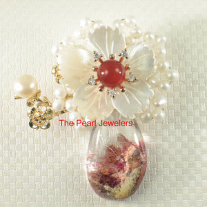 Handcrafted Elegant & Beautiful Quartz Crystal Flower Design Brooch Pendant
