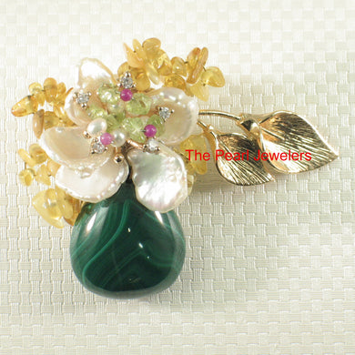 Handcrafted Elegant & Beautiful Malachite Flower Design Brooch Pin Pendant