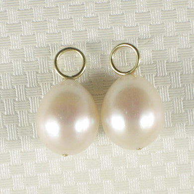 Pair of 9.5-10mm White Pearl; 14k Yellow Gold 5mm Eye Pin for Hoop Earrings