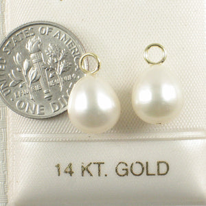 Pair of 9.5-10mm White Pearl; 14k Yellow Gold 4mm Eye Pin for Hoop Earrings