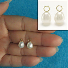 Load image into Gallery viewer, Pair of 8-8.5mm White Pearl; 14k Yellow Gold 4mm Eye Pin for Hoop Earrings