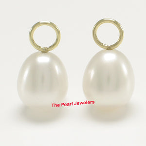 Pair of 8-8.5mm White Pearl; 14k Yellow Gold 4mm Eye Pin for Hoop Earrings