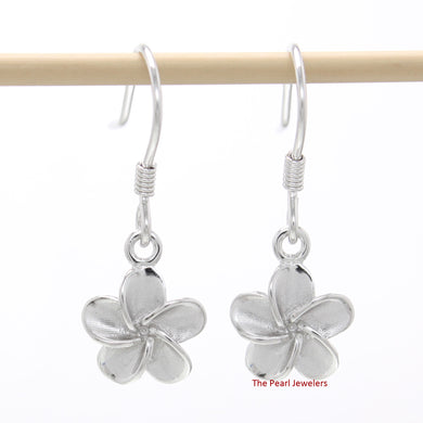 9mm Hawaiian Jewelry Plumeria Flowers Crafted of Silver 925 Hook Earrings