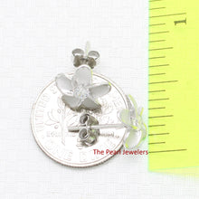 Load image into Gallery viewer, Rhodium Plated Silver 925 Hawaiian Plumeria Flower Cubic Zirconia Earrings