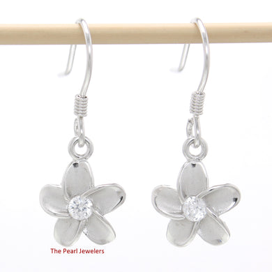 10mm Solid Sterling Silver Plumeria Dangle Earrings with Cubic Zirconia