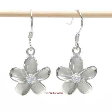 14mm Rhodium Plated Solid Silver 925 Plumeria Cubic Zirconia Earrings