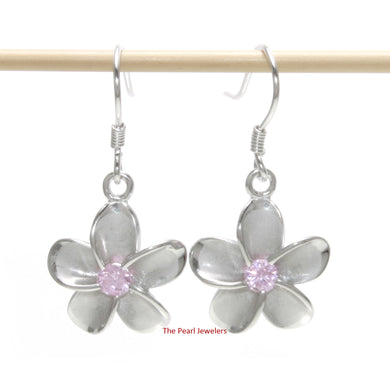 14mm Sterling Silver 925 Plumeria Hook Earrings with Pink Cubic Zirconia