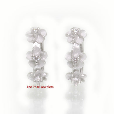 Cubic Zirconia Three Plumeria Flowers Hoop Earrings in Sterling Silver 925