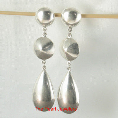 Solid Sterling Silver .925 Dangle Raindrops Unique Design Stud Earrings