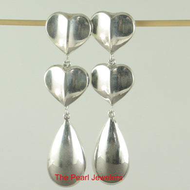 Solid Sterling Silver .925 Dangle Hearts Unique Design Stud Earrings