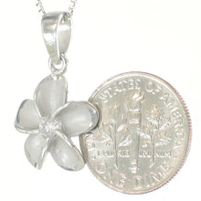Load image into Gallery viewer, Solid 925 Sterling Silver Hawaiian Plumeria w/ Cubic Zirconia 14mm Pendant