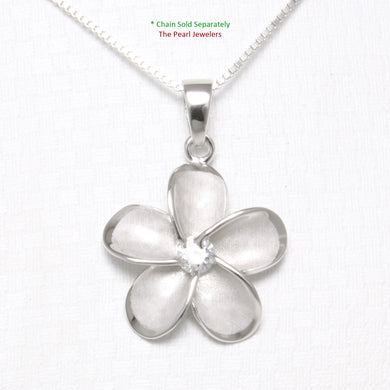 Hawaiian Jewelry 19 mm Plumeria Cubic Zirconia Sterling Silver 925 Pendant