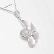 Load image into Gallery viewer, Solid 925 Sterling Silver Hawaiian Plumeria w/ Cubic Zirconia 24mm Pendant