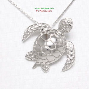 "Beautiful Solid 925 Sterling Silver Hawaiian ""Honu"" Sea Turtle Pendant"