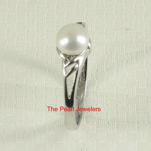 Solid Sterling Silver 925 Rhodium Finish White Cultured Pearl Solitaire Ring