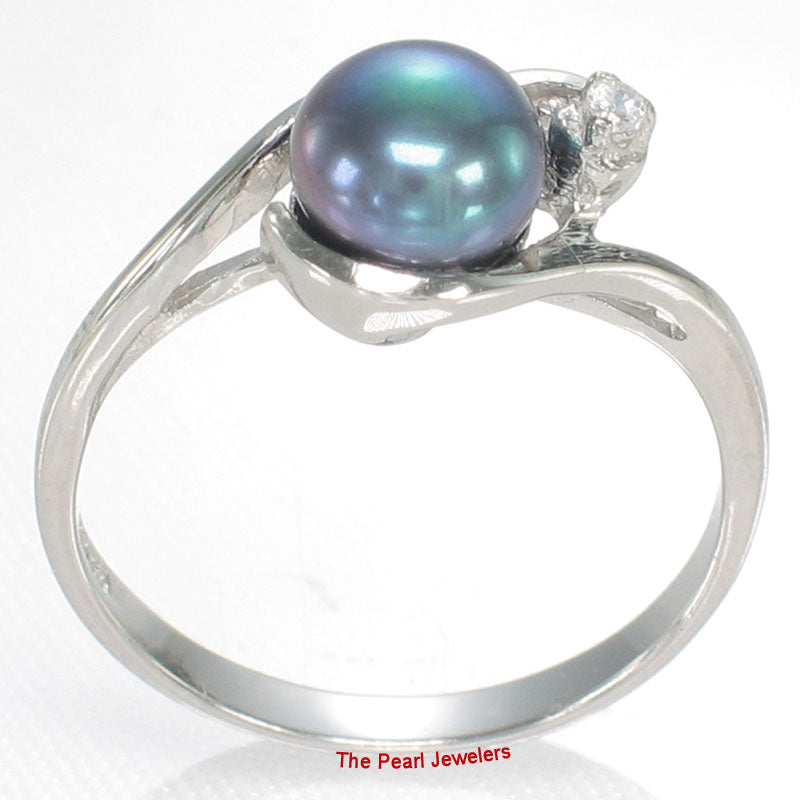 Cute Solid Sterling Silver 925 Black Cultured Pearl Ring w/ Cubic Zirconia