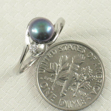 Load image into Gallery viewer, Cute Solid Sterling Silver 925 Black Cultured Pearl Ring w/ Cubic Zirconia