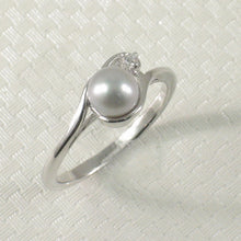 Load image into Gallery viewer, Cute Solid Sterling Silver 925 Cubic Zirconia Silver-Tone Cultured Pearl Ring