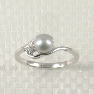 Cute Solid Sterling Silver 925 Cubic Zirconia Silver-Tone Cultured Pearl Ring