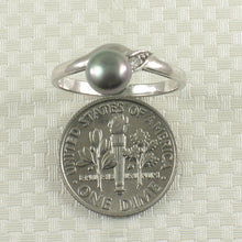 Load image into Gallery viewer, Black Cultured Pearl w/ C.Z. Solitaires with Accents Ring, Sterling Silver 925