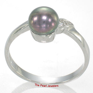 Black Cultured Pearl w/ C.Z. Solitaires with Accents Ring, Sterling Silver 925
