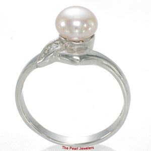 Romantic Lavender Cultured Pearl w/ C.Z. Solitaires Ring, Sterling Silver .925