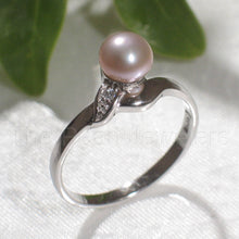 Load image into Gallery viewer, Romantic Lavender Cultured Pearl w/ C.Z. Solitaires Ring, Sterling Silver .925