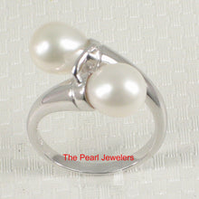 Load image into Gallery viewer, Solid Sterling Silver .925 Twin White f/w Cultured Pearl Cocktail Ring