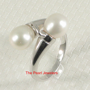 Solid Sterling Silver .925 Twin White f/w Cultured Pearl Cocktail Ring