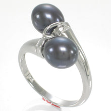 Load image into Gallery viewer, Solid Sterling Silver .925 Twin AAA Black –blue Cultured Pearl Cocktail Ring