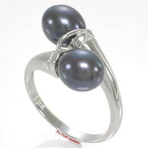 Solid Sterling Silver .925 Twin AAA Black –blue Cultured Pearl Cocktail Ring