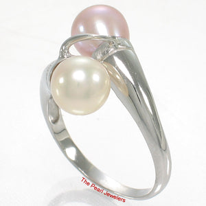 925 Sterling Silver Rhodium Finish Twin AAA Peach & Pink Pearl Cocktail Ring