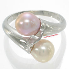 Load image into Gallery viewer, 925 Sterling Silver Rhodium Finish Twin AAA Peach & Pink Pearl Cocktail Ring