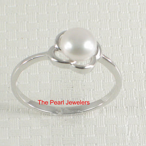 Solid Sterling Silver 925 Flower-Design White Freshwater Cultured Pearl Ring