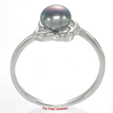 Load image into Gallery viewer, Rhodium Plated Solid Sterling Silver .925 Set Black F/w Pearl Solitaire Ring