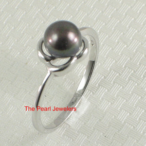 Rhodium Plated Solid Sterling Silver .925 Set Black F/w Pearl Solitaire Ring