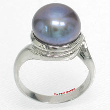 Load image into Gallery viewer, Solid Sterling Silver 925, 10-11mm Gray F/W Cultured Pearl Solitaire Ring