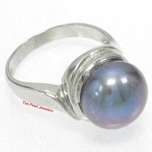 Solid Sterling Silver 925, 10-11mm Gray F/W Cultured Pearl Solitaire Ring